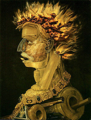 Oil painting Giuseppe Arcimboldo - Fire abstract male portrait free shipping 36""