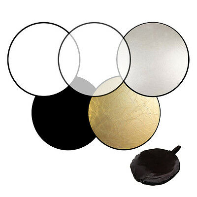 """43"""" 5-in-1 Photography Studio Photo Disc Collapsible Light Panel Reflector 110CM"""