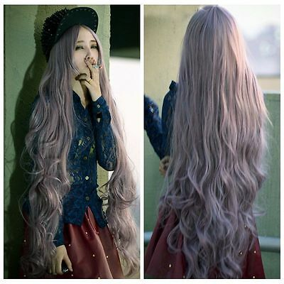 Fashion 100cm Light purple Long Women's Lady Curly Wavy Hair Full Wigs  Cosplay