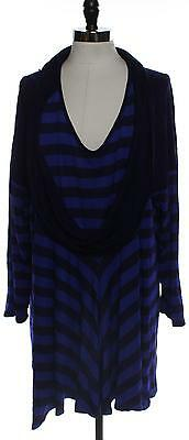 ANTTHONY Womens Plus 3X Shirt Top Pull Over Stripe Blue Long Sleeve Tee Ladies