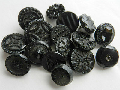 Lot of 16 Antique Old Black Glass Buttons with Pretty Pattern tops