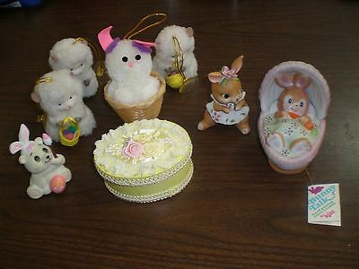 Lot of 8 Vintage Easter decorations Russ and Enesco New Old Stock