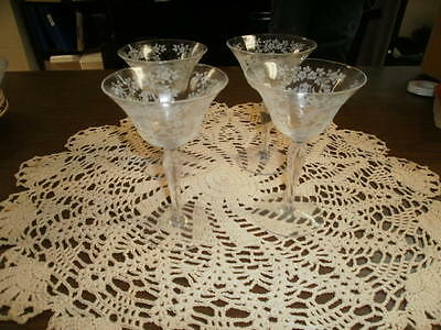 Lot of 4 Vintage Etched Stemmed Footed Champagne Cordial Glasses