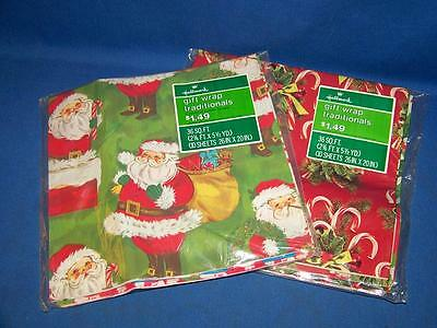 2 Packages of Vintage 1970's Hallmark Sealed Christmas Gift Wrap Traditionals