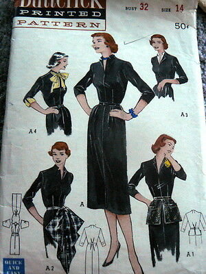 LOVELY VTG 1950s ACCESSORY DRESS BUTTERICK Sewing Pattern 14/32