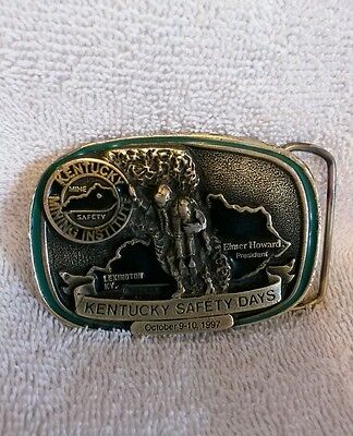 Brass/Green Enamel Kentucky Safety Days Coal Mining Belt Buckle