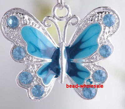 5Pcs 21mm Blue Enamel Rhinestone Crystal Silver Plated Butterfly Charms Pendant