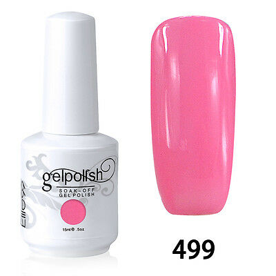 Hot Soak-Off Gel Polish Nail Art New Bling Colors Manicure Color Pink 499 15ml