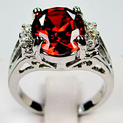 Jewelry new arrival  fashion ruby lady's 10KT white Gold Filled Ring sz9 gift