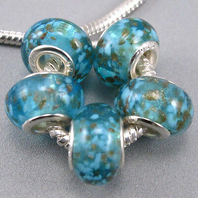 5pcs Silver Core Glass Acrylic Bead Fit For Euro Charms Bracelet DIY