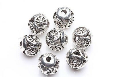 10Pcs Sculpture Tibet Silver Hollow Out Round Loose Spacer Beads 8MM DIY