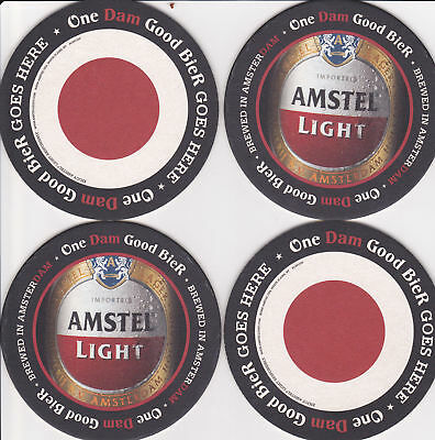 AMSTEL LIGHT SET OF 4 COASTERS MINT 2009 OFFICIAL PROMO Cardboard CHEAP!
