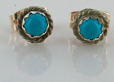 Delicate-$50 Tag-AUTHENTIC K. McCray Navajo .925 Turquoise Stud Earrings 0410