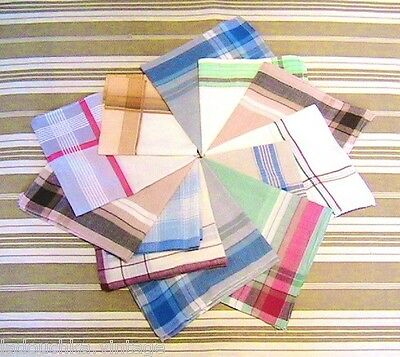 FRENCH 1950s MEN CHECKED HANDKERCHIEFS - LOT OF 12 - MADE IN FRANCE - DEADSTOCK