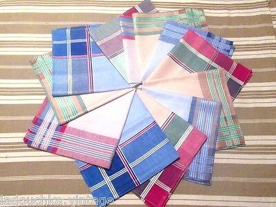 FRENCH 1950s MEN VINTAGE COTTON HANDKERCHIEFS - LOT OF 12 - MADE IN FRANCE - NEW