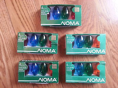 20 NOS Vintage NOMA C-7 1/2 Transparent Christmas Bulbs In Assorted Colors