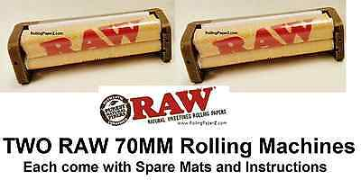 2X RAW 70mm Cigarette Roller Machines HEMP PLASTIC for Single Wide Rolling Paper