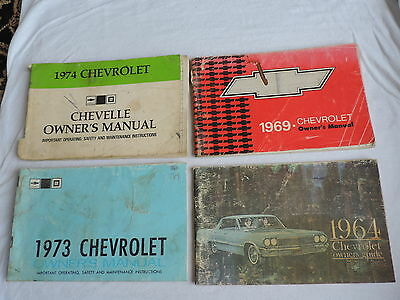 4 OLD CHEVROLET CAR AUTOMIBILE OWNER'S MANUAL 1964,1969,1973,1974 free shipping