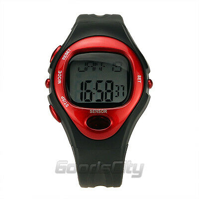Pulse Heart Rate Monitor Calories Counter Fitness Watch Time StopWatch Alarm Red