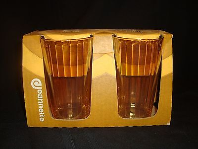 Rare NOS Set 4 Jeanette Fluted Carnival Iridescent Marigold 11 oz Tumblers w Box
