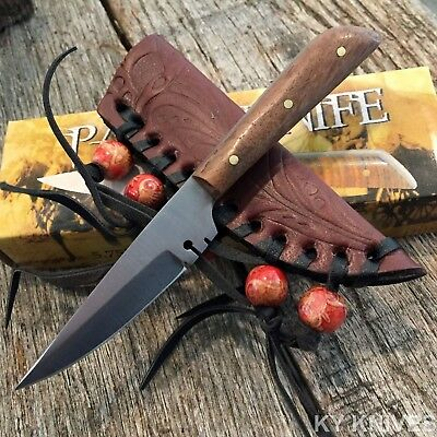 Full Tang Western Style Fixed Blade Patch Knife Leather Sheath NEW 203296