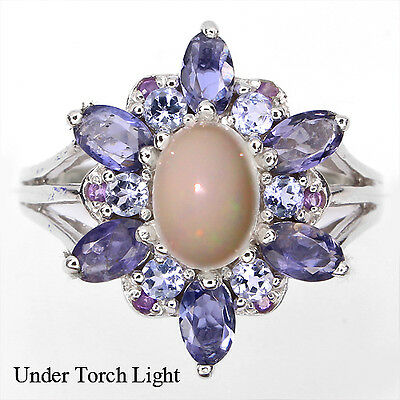 DELUXE NATURAL FIRE OPAL,IOLITE,TANZANITE,AMETHYST STERLING 925 SILVER RING Sz 9