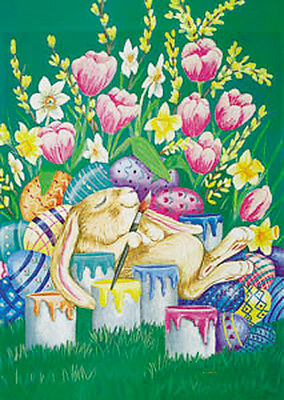 Pink TuLIps DAffoDiLS Worn Out BUNNY, Painting EASTER Eggs 9352 New Mini FLAG
