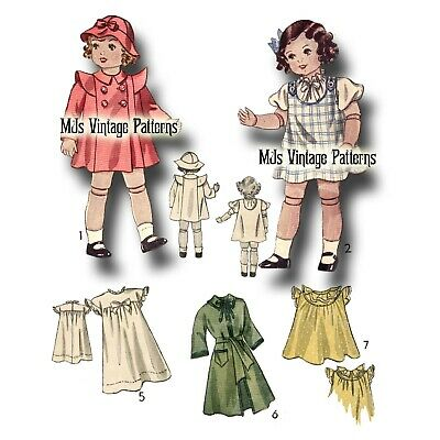 """Vtg 18"""" 19"""" for Patsy Ann, Shirley Temple, Composition, Antique Doll Pattern"""
