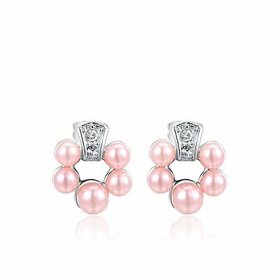 Hot Unique 18K GP White Gold Plated Pink Pearl Austrian Crystal Stud Earrings