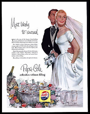 "Original 1956 Pepsi Cola  Bride & Groom   ""most Likely To Succeed Vtg  Print Ad"