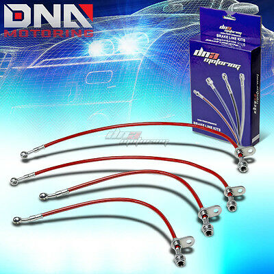 For 02-05 Honda Civic Si Ep3 Red Stainless Steel Hose Braided Brake Line/hose