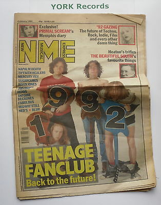 NEW MUSICAL EXPRESS NME - January 4 1992 - TEENAGE FANCLUB / PRIMAL SCREAM