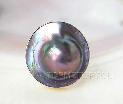 WOW 23mm rainbow black South sea Mabe pearl ring 925ss filled gold E1997