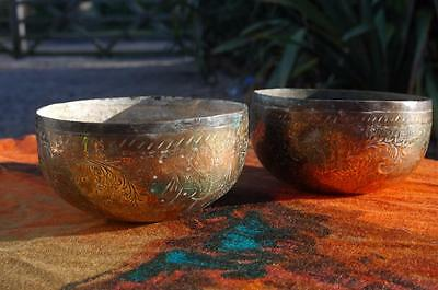 Antique Middle Eastern Engraved Brass Story Bowls Islamic Arabic Historical Pair