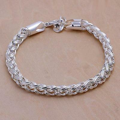 Fashion new Nice 925 sterling silver 6MM chain Bracelet jewelry Gift Box H70