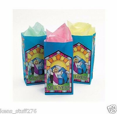 HE  LIVES Paper Goodie Bags, Sunday School, Egg Hunt, Easter Treat Bags - 12p