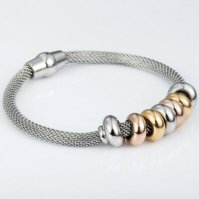 4mm Womens Yellow Rose Gold Silver Tone Beads Mesh Stainless Steel Bracelet