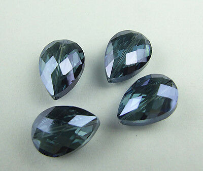 Lovely 10pcs 18mm Teardrop charms crystal loose spacer beads color ink blue