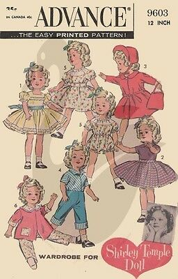 "Reproduction Vintage Shirley Temple Dolls Clothes 12 or 17"" Sewing Pattern A9603"