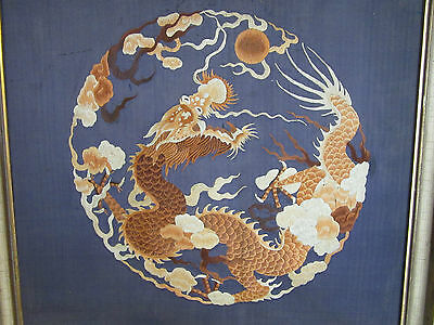 Antique Chinese Dragon Embroidery on blue silk framed 4 claws