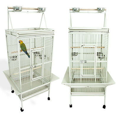 Parrot Bird Cockatiel Large White Cage Parakeet Finch Playtop Gym Perch Stand