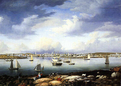 Oil Fitz Hugh Lane - Gloucester from Rocky Neck seascape with sail boats canvas