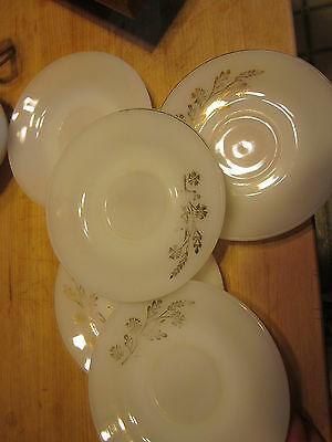 Vintage set/lot of Federal Glass 5 Saucers Golden Glory Milk 5 and 3/4""