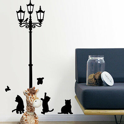 Retro Street Lamp Cute Black Cats Removable Wall Decal Art Home Decor Stickers