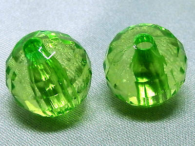 14mm 15pcs CLEAR GREEN ACRYLIC PLASTIC ROUND LOOSE BEADS TY2716