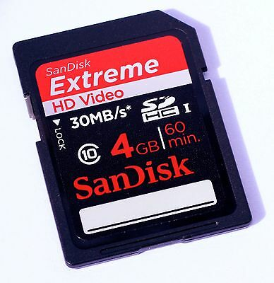 SanDisk SD EXTREME 4 GB HD Video memory card SDHC 4G 4GB HDVideo SD HC class 10