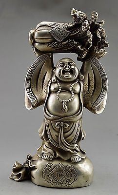 Collectible Decorated Old Tibet Silver Carved Buddha Held Cabbage Bless Statue