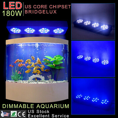 New 180W LED AQUARIUM LIGHTING Dimmable Blue/White Fish Tank Coral Marine Reef