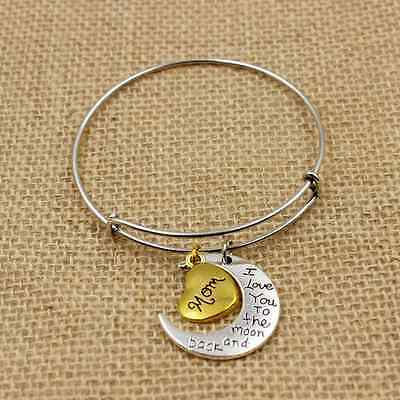 """Family Mom """"i love you to the moon and back"""" Bracelet charm bangle for gift"""