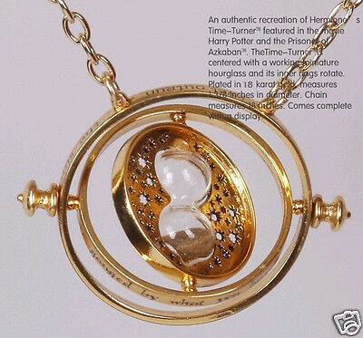 Hot Harry Potter Time Turner Necklace Hermione Granger Rotating Spins Hourglass